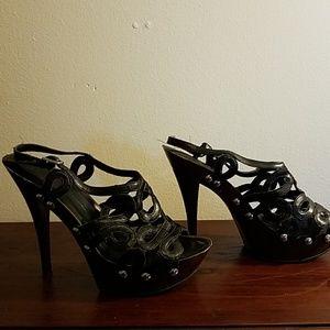 Black sexy strappy high heel sandals